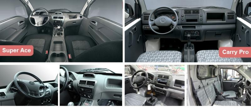Nội thất xe tải Tata Super Ace với Suzuki Pro
