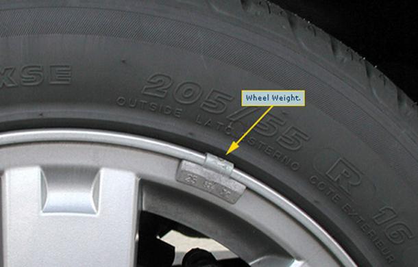 Miếng chì kẹp trên bánh xe