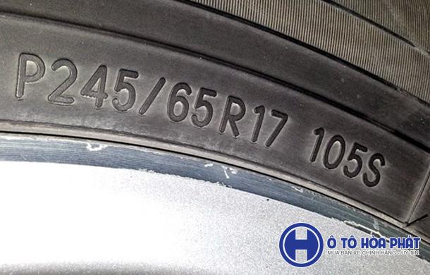 thông số kĩ thuật lốp xe